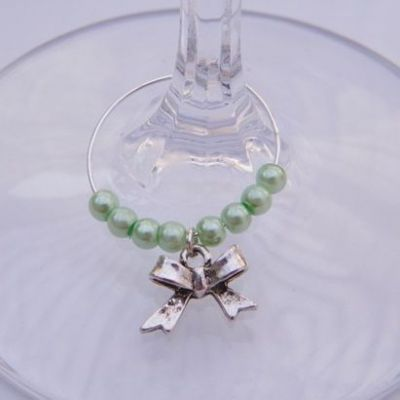 Bow Wine Glass Charm - Beaded Style